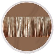 Birches In Motion Round Beach Towel
