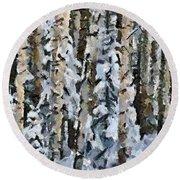 Birches In The Winter Round Beach Towel