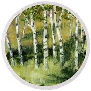 Birches On A Hill Round Beach Towel by Michelle Calkins