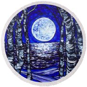 Birches With Shining Water Round Beach Towel