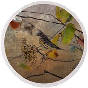 Bird And Berries Round Beach Towel