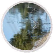 Bird And Pond Round Beach Towel
