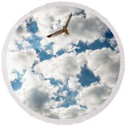 Bird And The Clouds Round Beach Towel