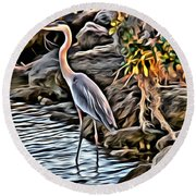 Bird By The Water Round Beach Towel