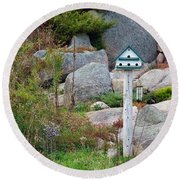 Bird House And Chimes Round Beach Towel