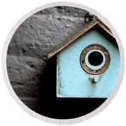 Bird House Of Blue By Diana Sainz Round Beach Towel