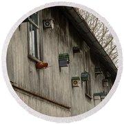 Bird Houses Round Beach Towel