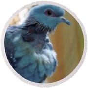 Bird In Blue Dress Round Beach Towel