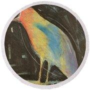 Bird In Gilded Frame Sans Frame Round Beach Towel
