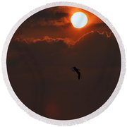 Bird In Sunset Round Beach Towel
