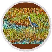 Bird In The Reeds Round Beach Towel