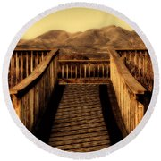 Bird Lookout-bosque Del Apache  Round Beach Towel