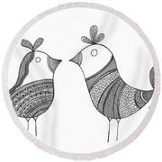 Bird Love Birds Round Beach Towel by MGL Meiklejohn Graphics Licensing