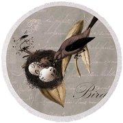 Bird Nest - 02v23c2b Round Beach Towel