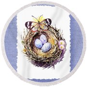 Bird Nest With Daisies Eggs And Butterfly Round Beach Towel