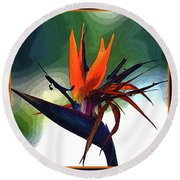 Bird Of Paradise Flower Fragrance Round Beach Towel
