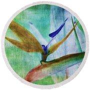 Bird Of Paradise Watercolor Round Beach Towel
