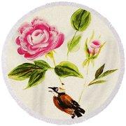 Bird On A Flower Round Beach Towel