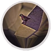 Bird On A Ledge Round Beach Towel