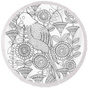 Bird Parrot Round Beach Towel by MGL Meiklejohn Graphics Licensing