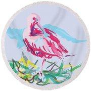 Bird Red Ibis Round Beach Towel