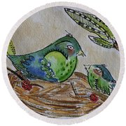 Bird Talk Round Beach Towel