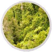 Bird View Of Lush Green Sub-tropical Nz Rainforest Round Beach Towel