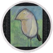 Bird With Found Feather Round Beach Towel