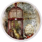 Birdcage Brass Bird And Carved Stone  Round Beach Towel