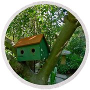 Birdhouse In A Tree Round Beach Towel