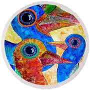 Birds 736 - Marucii Round Beach Towel