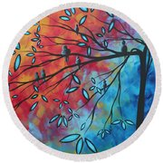 Birds And Blossoms By Madart Round Beach Towel