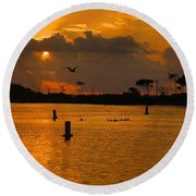 Birds And Bouys Sunrise Round Beach Towel
