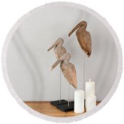 Birds And Candles Round Beach Towel