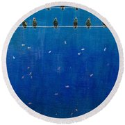 Birds And Fish Round Beach Towel
