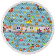 Birds And Flowers For Children Round Beach Towel