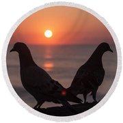 Birds At Sunrise Round Beach Towel by Nelson Watkins