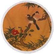 Birds Bamboo And Camellias Round Beach Towel