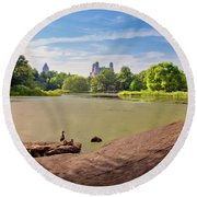 Birds Eye View Round Beach Towel