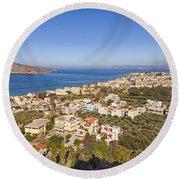 Birds Eye View Of Crete Greece Round Beach Towel