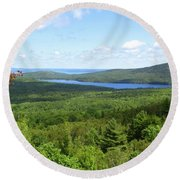 Bird's Eye View Of Eagle Lake Round Beach Towel
