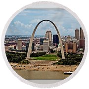Bird's Eye View Of St.louis  Round Beach Towel