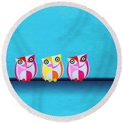 Birds In Blue  Round Beach Towel