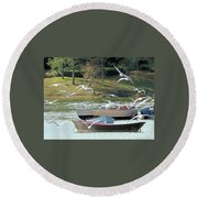 Birds In Flight At The Lake Round Beach Towel