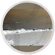 Birds In Flight Over Lafitte Bay Round Beach Towel