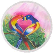 Birds In Love 02 Round Beach Towel
