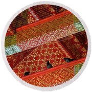 Birds In Rafters Of Royal Temple At Grand Palace Of Thailand  Round Beach Towel