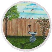 Birds In The Backyard Round Beach Towel