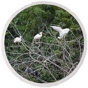 Birds In The Brush Round Beach Towel