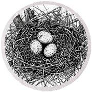 Birds Nest Round Beach Towel